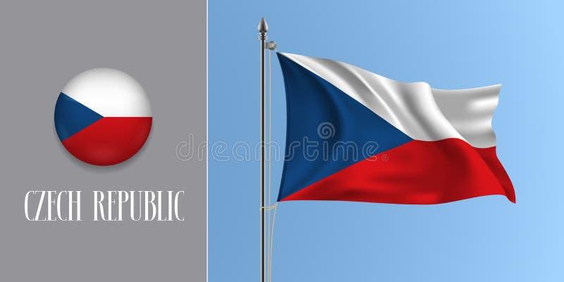Drapeau de ondulation de République Tchèque sur le mât de drapeau et l'illustration ronde de vecteur d'icône illustration stock