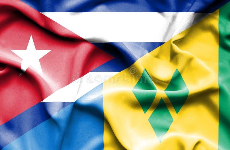 Drapeau de ondulation de Saint Vincent et grenadines et le Cuba illustration stock