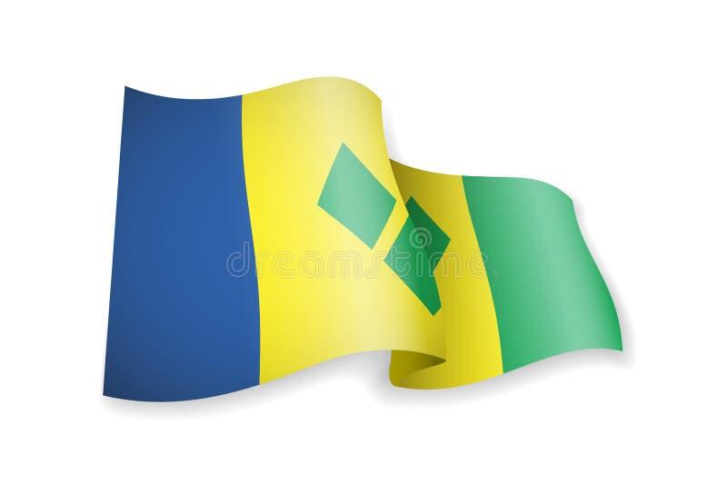 Drapeau de ondulation de Saint-Vincent-et-les-Grenadines sur le fond blanc illustration stock