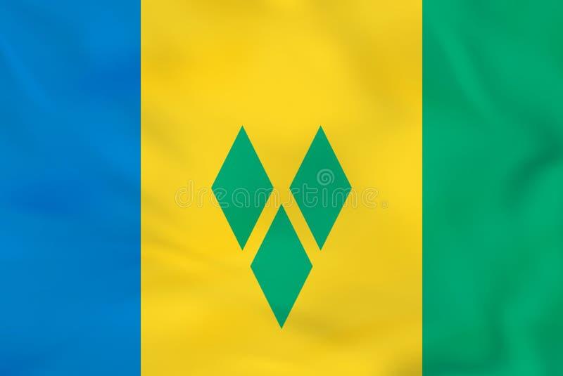 Drapeau de ondulation de Saint-Vincent-et-les-Grenadines Texture de fond de drapeau national de Saint-Vincent-et-les-Grenadines illustration de vecteur