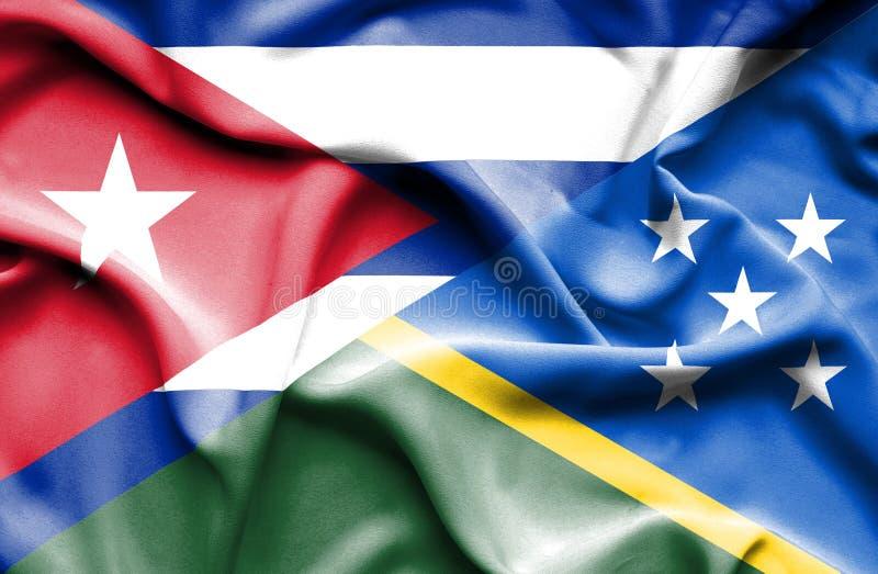 Drapeau de ondulation de Solomon Islands et du Cuba illustration stock