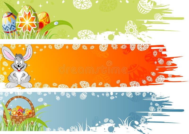 Drapeau de Pâques avec des oeufs, rabbin illustration stock