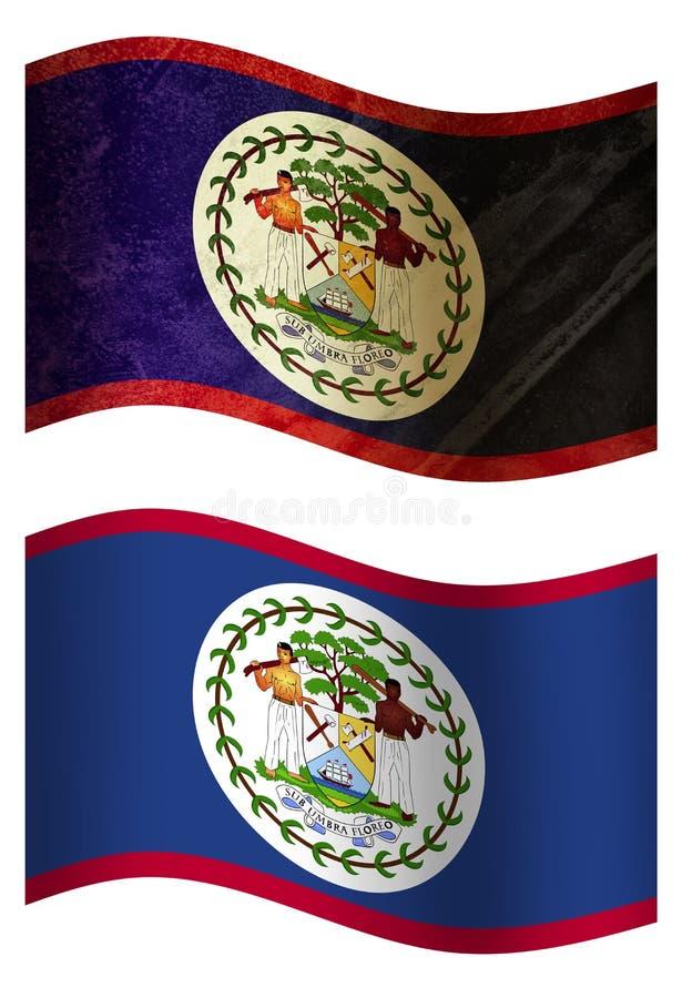 Drapeau de pays de Belize 3D, deux styles illustration stock