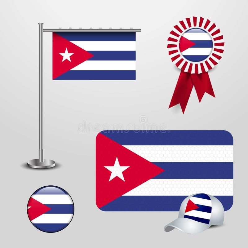 Drapeau de pays du Cuba haning sur le poteau, la bannière d'insigne de ruban, le chapeau de sports et le bouton rond illustration de vecteur