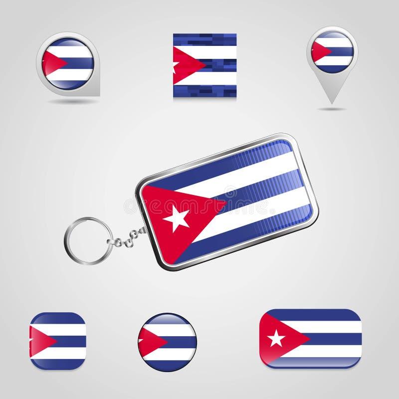 Drapeau de pays du Cuba sur Keychain et style différent de goupille de carte illustration de vecteur