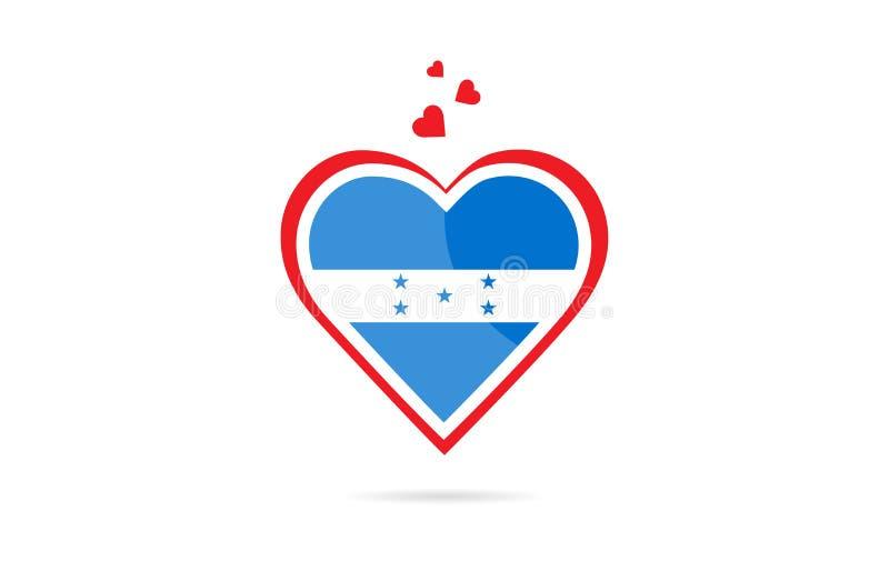 Drapeau de pays du Honduras à l'intérieur de conception créative de logo de coeur d'amour illustration stock