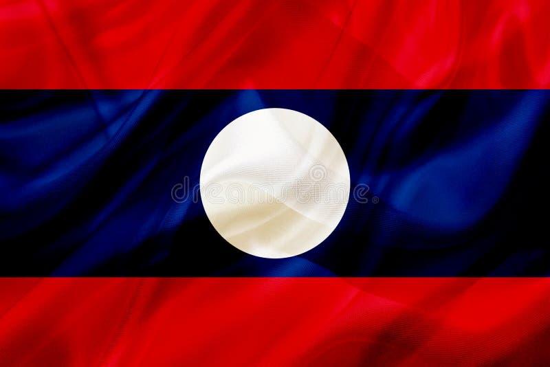 Drapeau de pays du Laos sur la texture de ondulation en soie ou soyeuse illustration stock