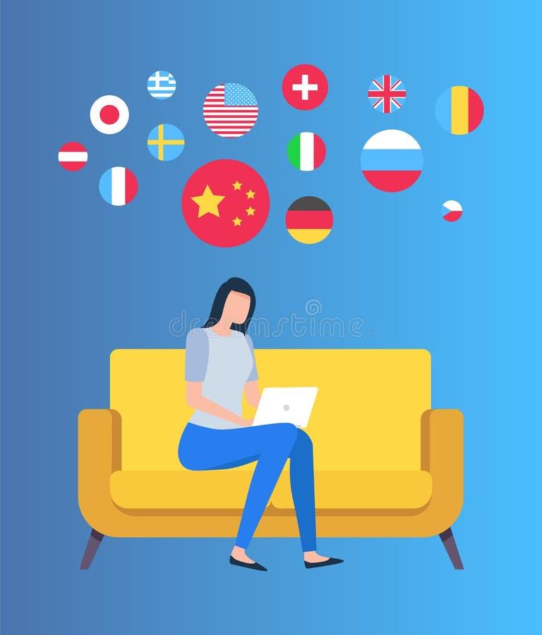 Drapeau de pays, femelle avec l'ordinateur portable, vecteur d'état illustration stock