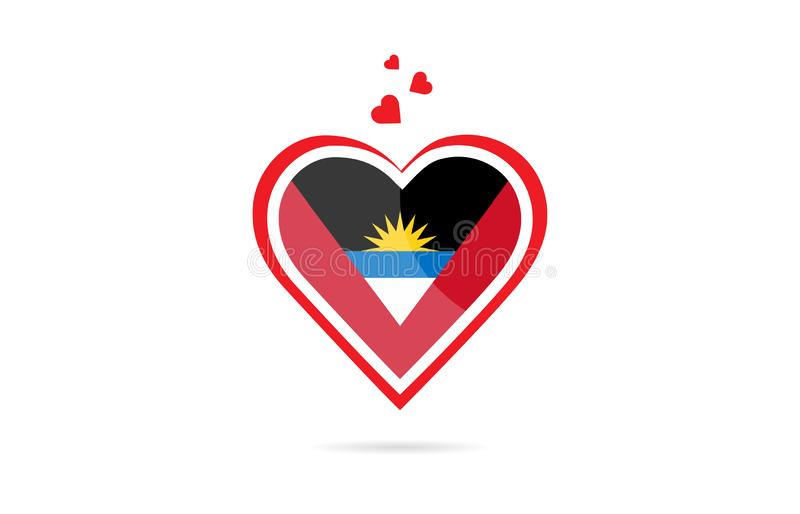 Drapeau de pays de l'Antigua-et-Barbuda à l'intérieur de conception créative de logo de coeur d'amour illustration stock