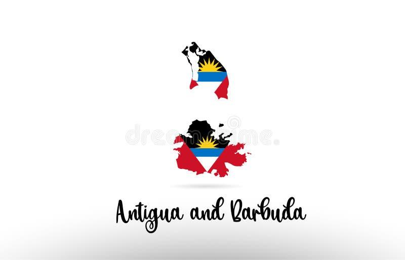 Drapeau de pays de l'Antigua-et-Barbuda à l'intérieur de logo d'icône de conception de découpe de carte illustration de vecteur