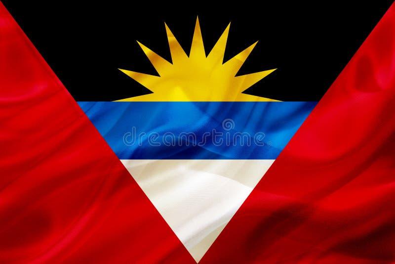 Drapeau de pays de l'Antigua-et-Barbuda sur la texture de ondulation en soie ou soyeuse illustration de vecteur