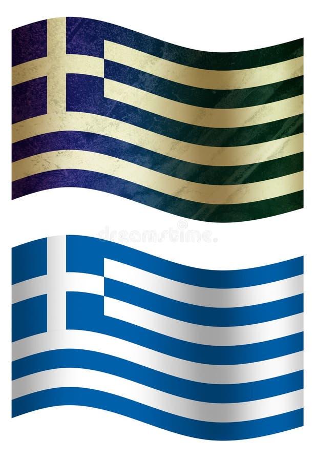 Drapeau de pays de la Grèce 3D, deux styles illustration stock