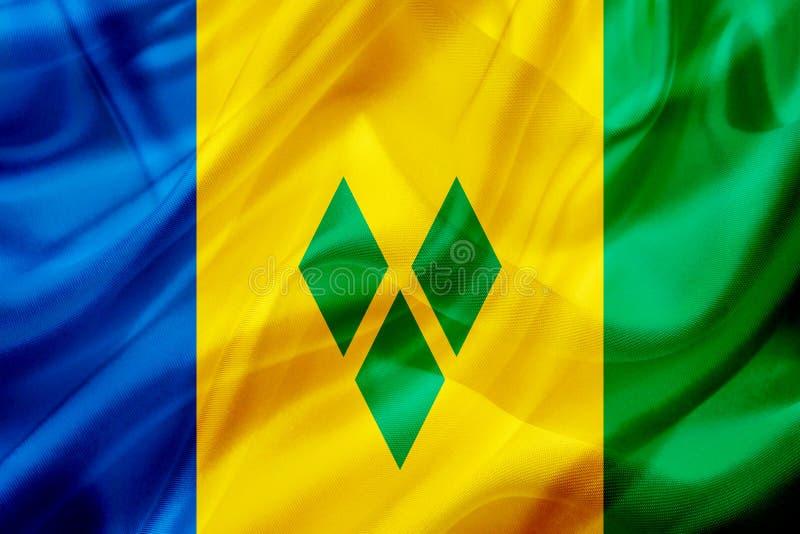 Drapeau de pays de Saint-Vincent-et-les-Grenadines sur la texture de ondulation en soie ou soyeuse illustration stock