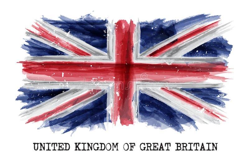 Drapeau de peinture d'aquarelle du Royaume-Uni de la Grande-Bretagne R-U Vecteur illustration stock