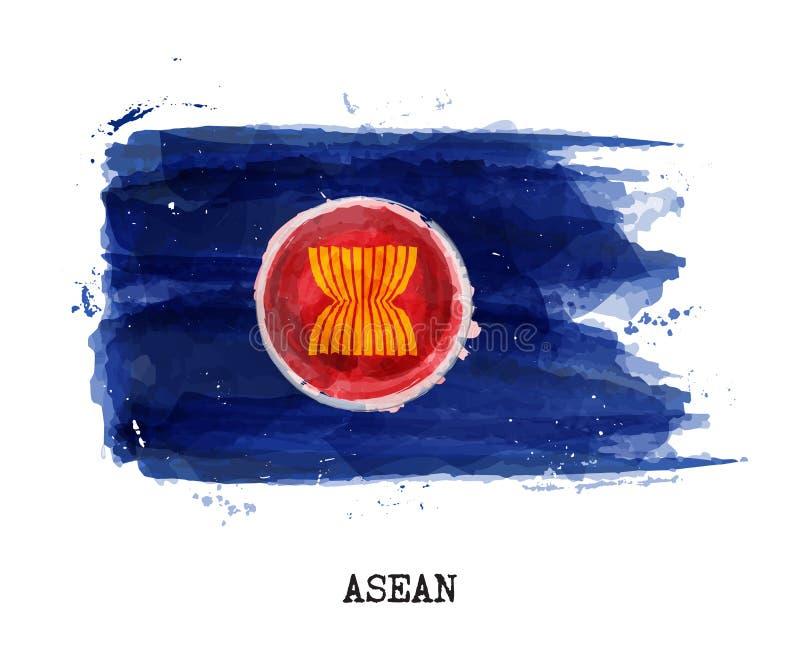 Drapeau de peinture d'aquarelle de l'association de quartier d'ASEAN des nations asiatiques du sud-est Vecteur illustration stock