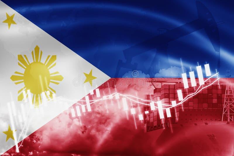 Drapeau de Philippines, marché boursier, économie d'échange et commerce, production de pétrole, navire porte-conteneurs dans des  illustration libre de droits