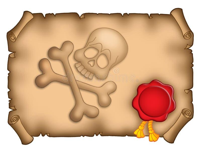 Drapeau de pirate avec le sceau illustration stock