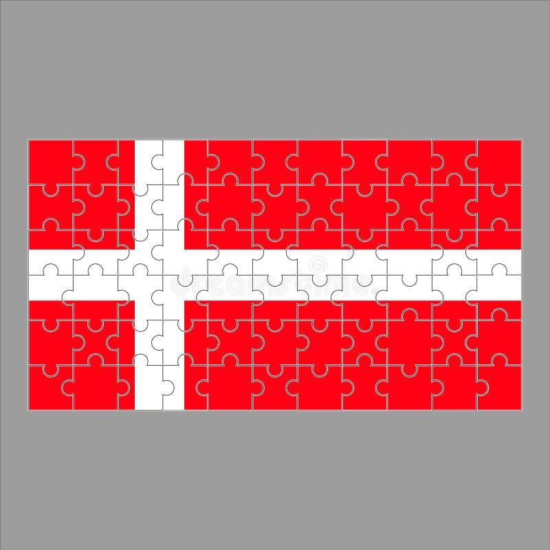 Drapeau de puzzle du Danemark sur le fond gris illustration stock