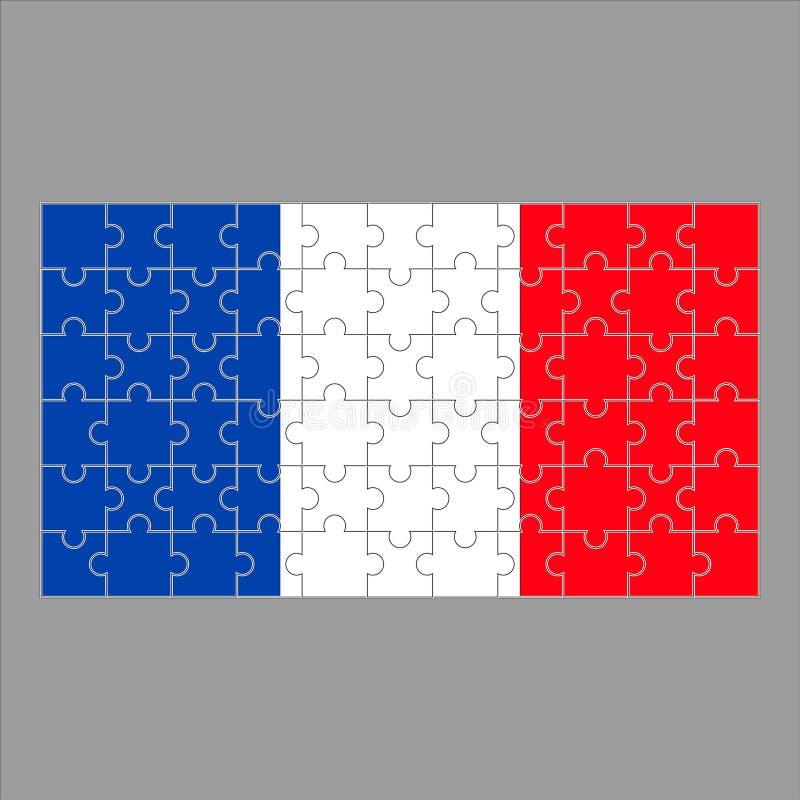 Drapeau de puzzle de la France sur le fond gris illustration stock