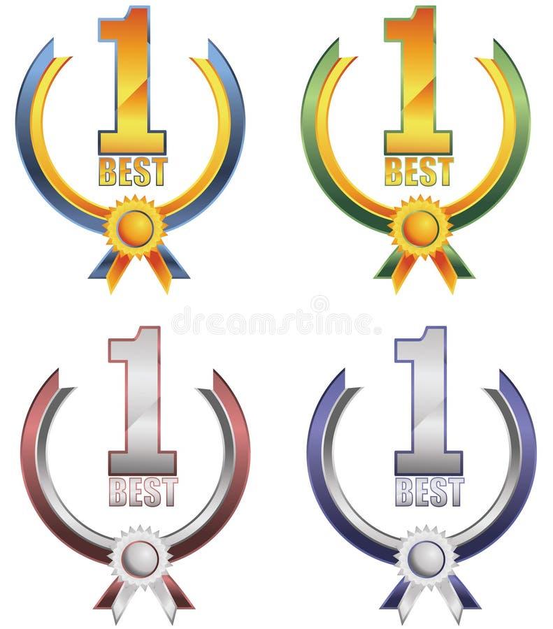 Drapeau de récompense du numéro un illustration stock