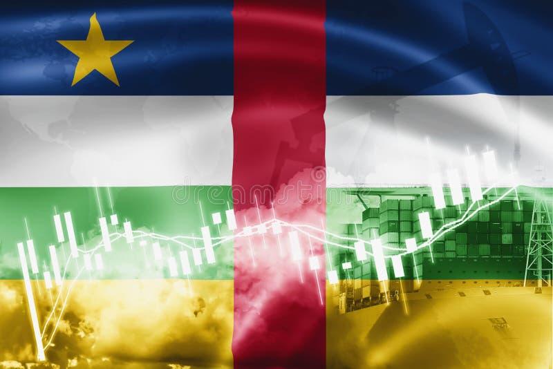 Drapeau de République Centrafricaine, marché boursier, économie et échanges d'échange, production de pétrole, navire porte-conten illustration de vecteur