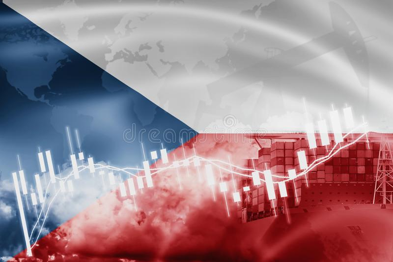 Drapeau de République Tchèque, marché boursier, économie d'échange et commerce, production de pétrole, navire porte-conteneurs da illustration de vecteur