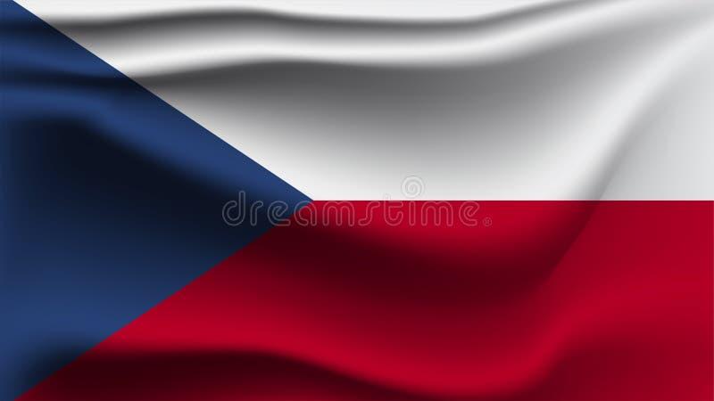 Drapeau de République Tchèque ondulant avec le drapeau de vague d'illustration du vent 3D illustration stock