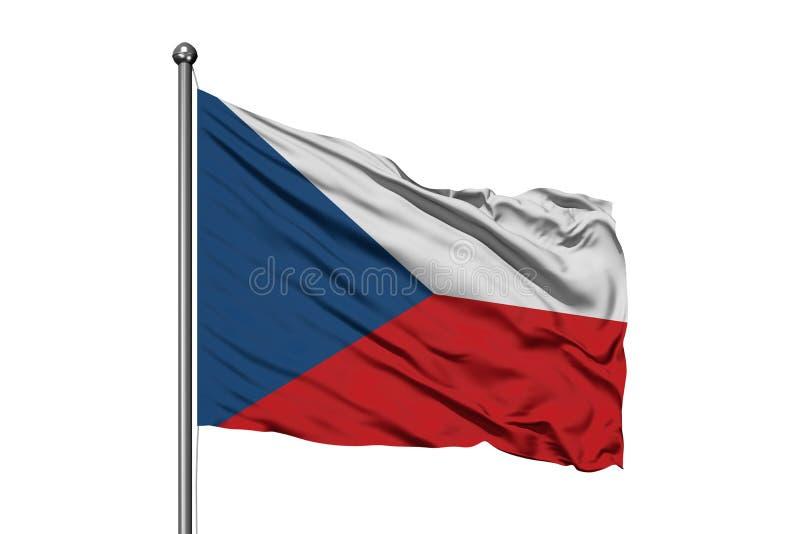 Drapeau de République Tchèque ondulant dans le vent, fond blanc d'isolement Indicateur tch?que illustration libre de droits