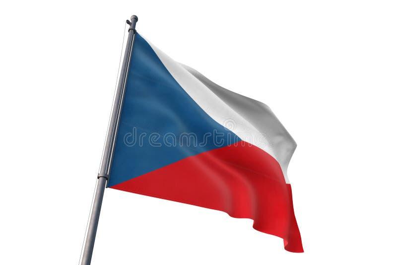 Drapeau de République Tchèque ondulant l'illustration blanche d'isolement du fond 3D illustration libre de droits