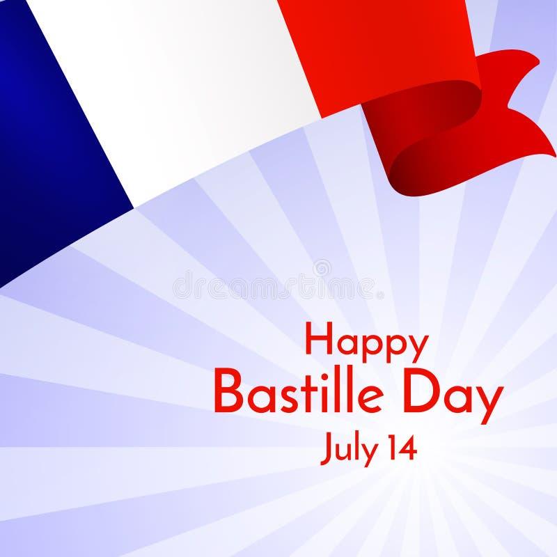 Drapeau de ruban de jour heureux de la France et de bastille des textes sur une disposition légère de bannière de brochure de fon illustration libre de droits