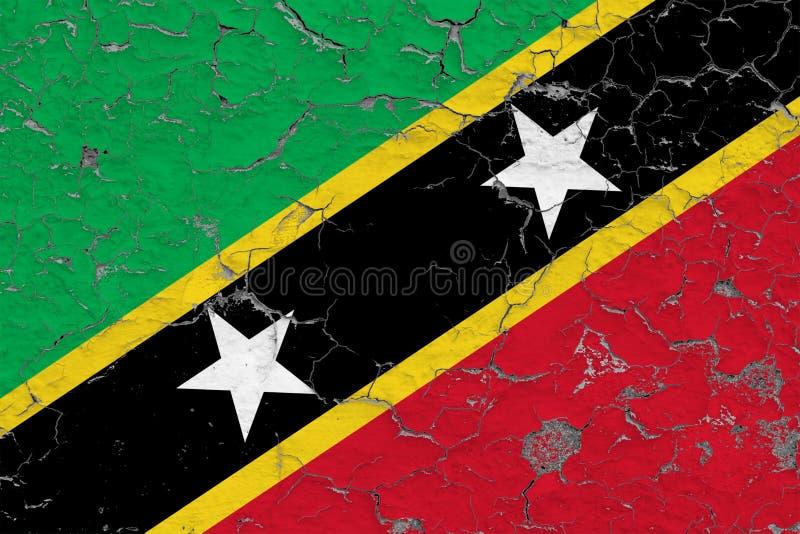 Drapeau de saint Kitts et Niévès peints sur le mur sale criqué Mod?le national sur la surface de style de cru illustration de vecteur