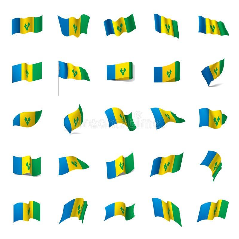 Drapeau de Saint-Vincent-et-les-Grenadines illustration de vecteur