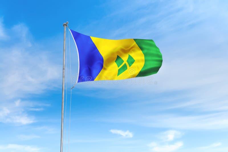 Drapeau de Saint-Vincent-et-les-Grenadines au-dessus de fond de ciel bleu illustration de vecteur