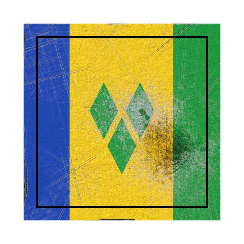 Drapeau de Saint-Vincent-et-les-Grenadines dans la place concrète illustration stock