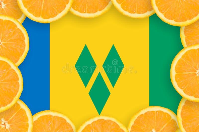 Drapeau de Saint-Vincent-et-les-Grenadines dans le cadre frais de tranches d'agrumes illustration libre de droits