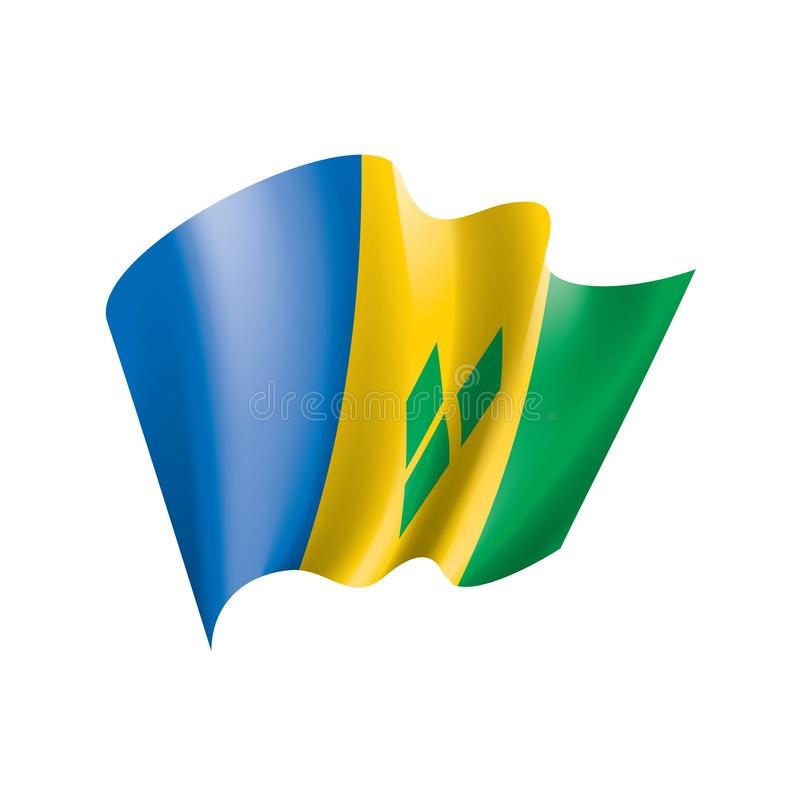 Drapeau de Saint-Vincent-et-les-Grenadines, illustration de vecteur sur un fond blanc illustration stock