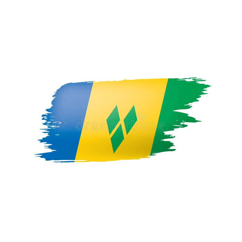 Drapeau de Saint-Vincent-et-les-Grenadines, illustration de vecteur sur un fond blanc illustration libre de droits