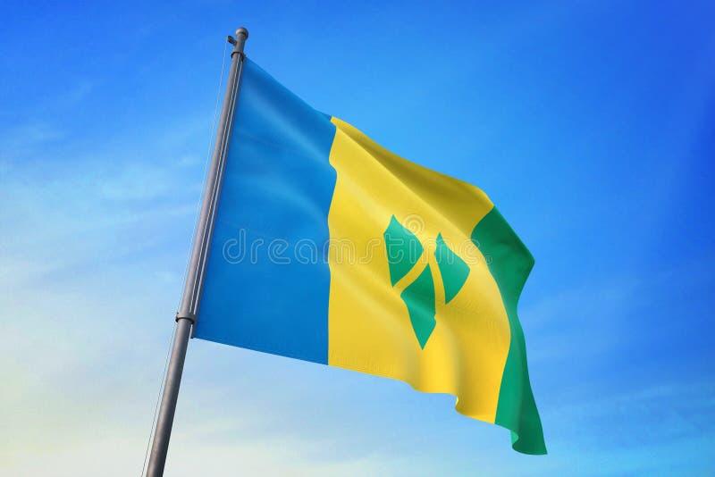 Drapeau de Saint-Vincent-et-les-Grenadines ondulant sur l'illustration du ciel bleu 3D illustration de vecteur