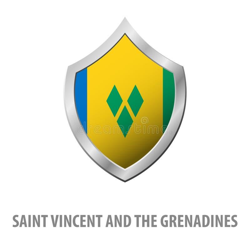 Drapeau de Saint-Vincent-et-les-Grenadines sur l'illustration brillante de bouclier en métal illustration libre de droits