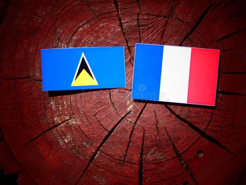 Drapeau de Sainte-Lucie avec le drapeau français sur un tronçon d'arbre d'isolement images stock
