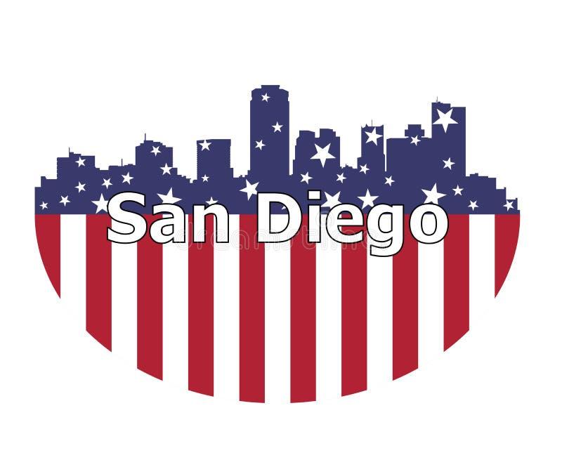 Drapeau de San Diego City And Etats-Unis illustration stock