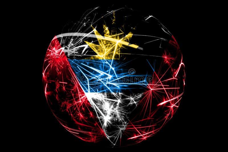 Drapeau de scintillement abstrait de l'Antigua-et-Barbuda, concept de boule de vacances de Noël d'isolement sur le fond noir illustration de vecteur