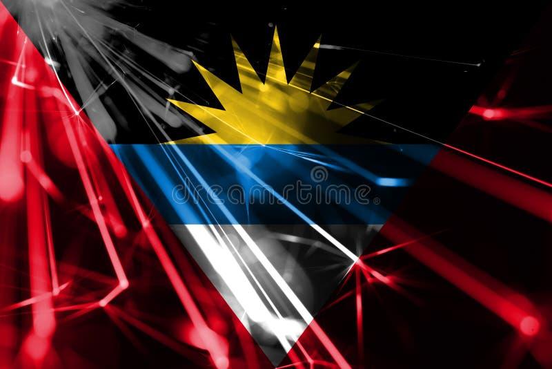 Drapeau de scintillement brillant de feux d'artifice de l'Antigua-et-Barbuda Drapeau brillant futuriste de concept de partie de l illustration de vecteur