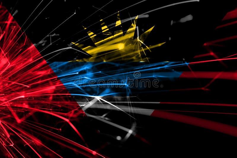 Drapeau de scintillement de feux d'artifice abstraits de l'Antigua-et-Barbuda Concept de nouvelle année, de Noël et de jour natio illustration stock