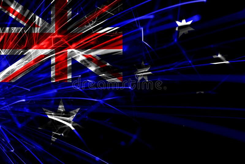 Drapeau de scintillement de feux d'artifice abstraits de l'Australie Concept de nouvelle année, de Noël et de jour national illustration de vecteur
