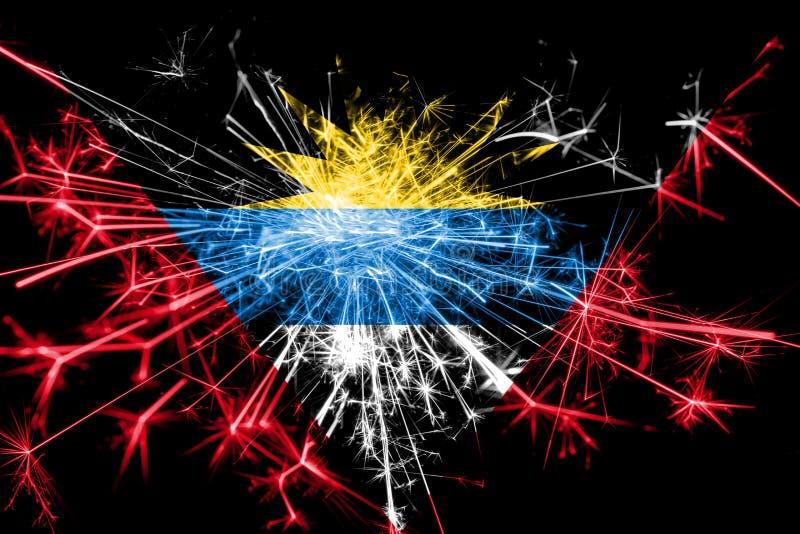 Drapeau de scintillement de feux d'artifice de l'Antigua-et-Barbuda Concept de la nouvelle année 2019 et de la fête de Noël illustration de vecteur