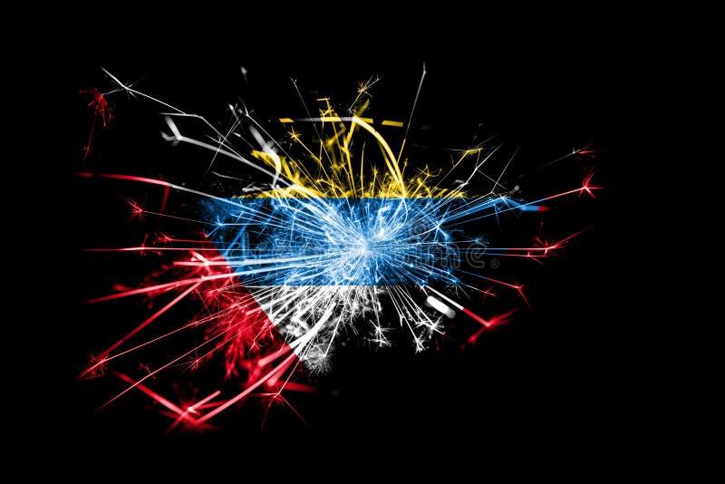 Drapeau de scintillement de feux d'artifice de l'Antigua-et-Barbuda Concept de la nouvelle année 2019 et de la fête de Noël illustration stock