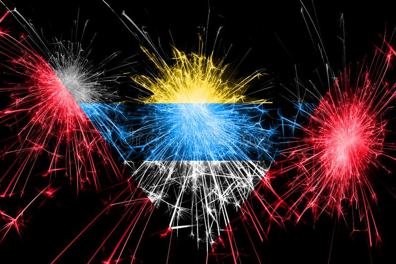 Drapeau de scintillement de feux d'artifice de l'Antigua-et-Barbuda Concept de nouvelle année, de Noël et de jour national illustration de vecteur