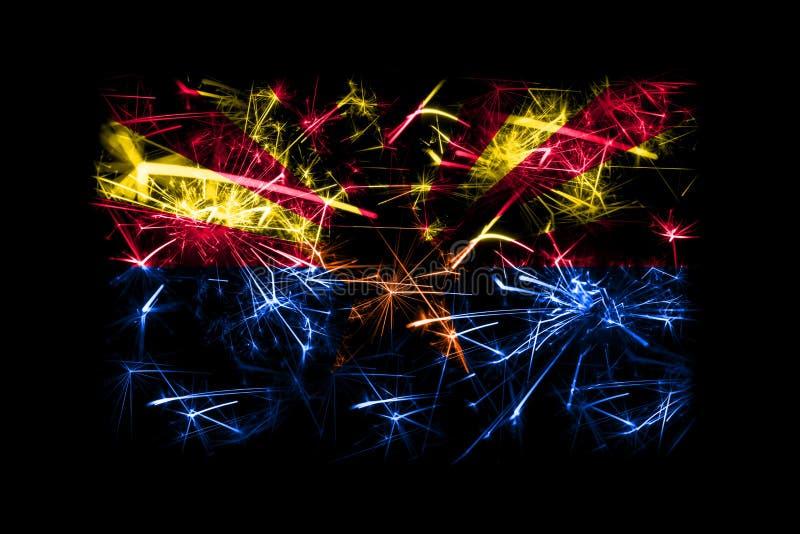 Drapeau de scintillement de feux d'artifice de l'Arizona Concept de la nouvelle année 2019 et de la fête de Noël illustration libre de droits