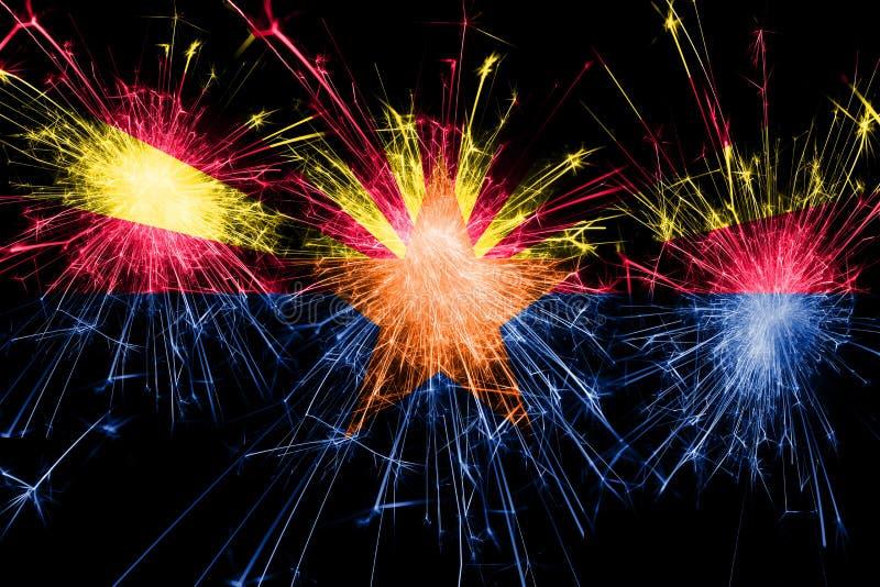 Drapeau de scintillement de feux d'artifice de l'Arizona Concept de nouvelle année, de Noël et de jour national Les Etats-Unis d' illustration stock